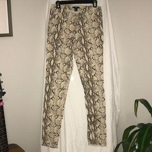 H&M snakeskin print pants